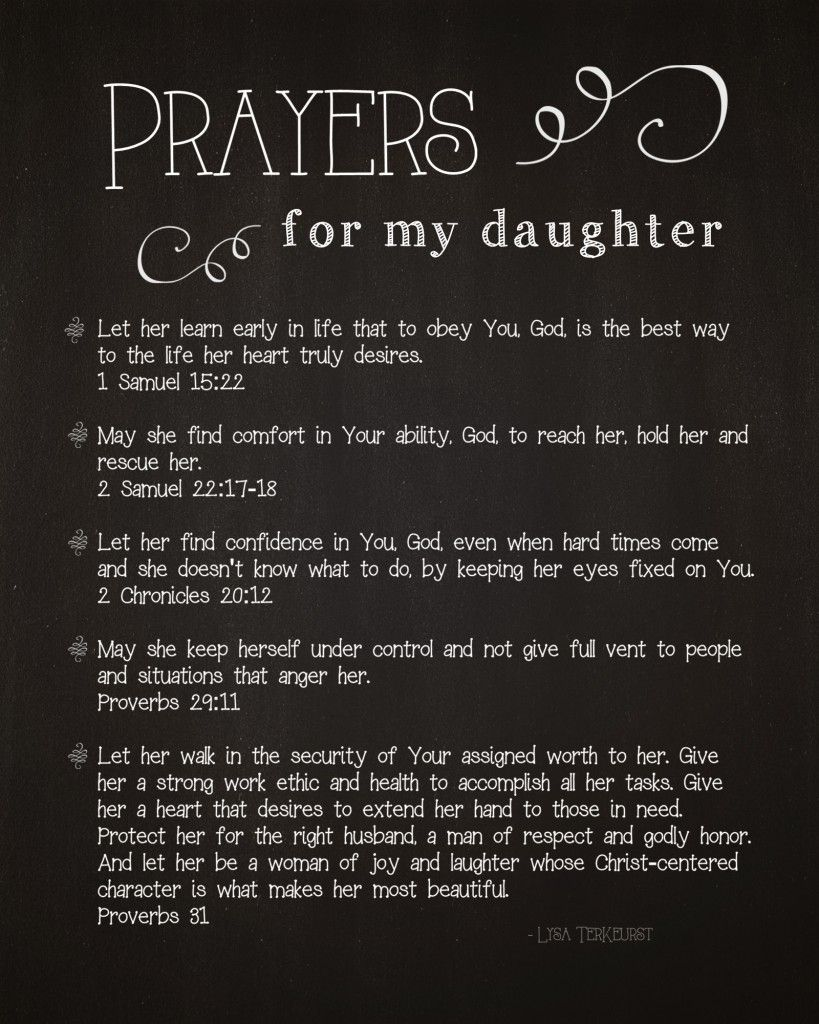 5 Prayers for My Daughter {Free Printable} | Heart, Scriptures and ...