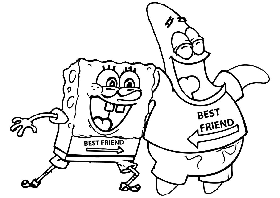 Patrick And Sponge Best Friends High Quality Free Coloring From The Category Spongebob Squar Spongebob Drawings Cartoon Coloring Pages Drawings Of Friends