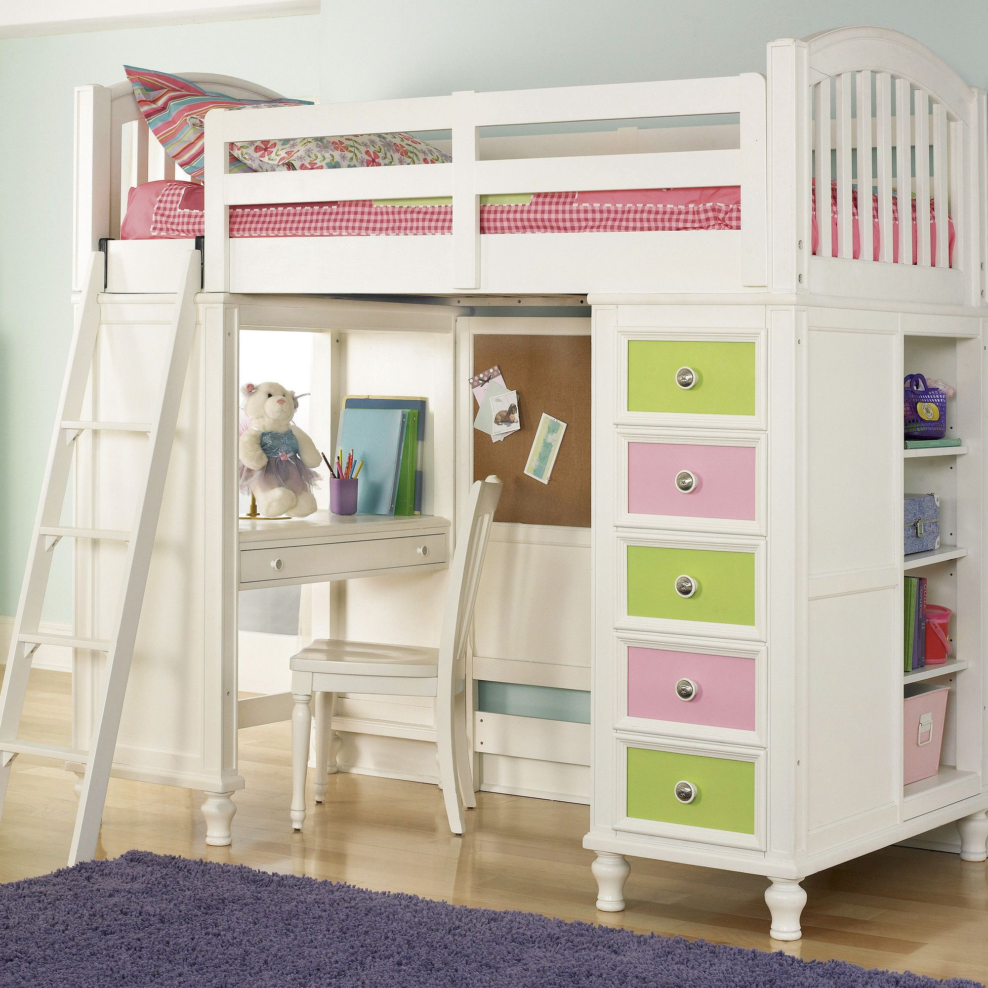 Build A Bear By Pulaski Pawsitively Yours Twin Loft Bed With Desk And Storage