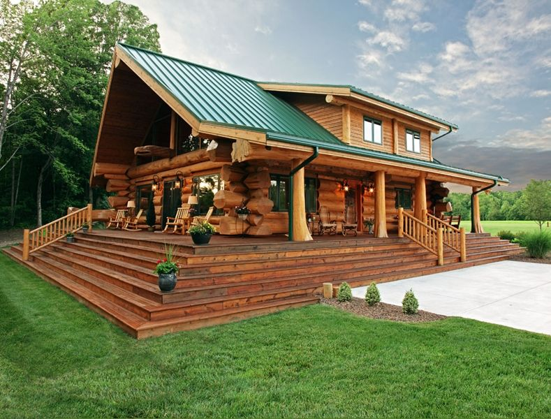 Charmant Amazing Log Cabin With Green Roof.