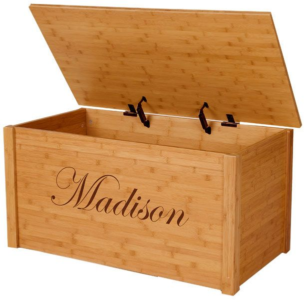 Bamboo Toy Chest With Engraved Personalization