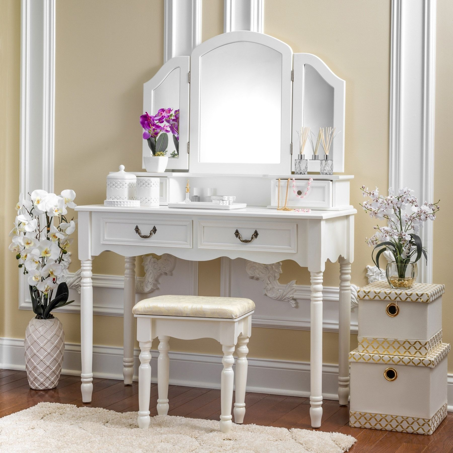 Fineboard Elegant Vanity Dressing Table Set Makeup
