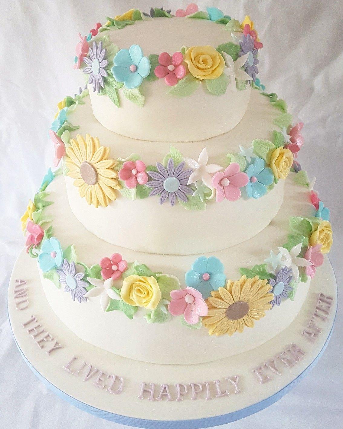 Cake Floral Pastel Wedding