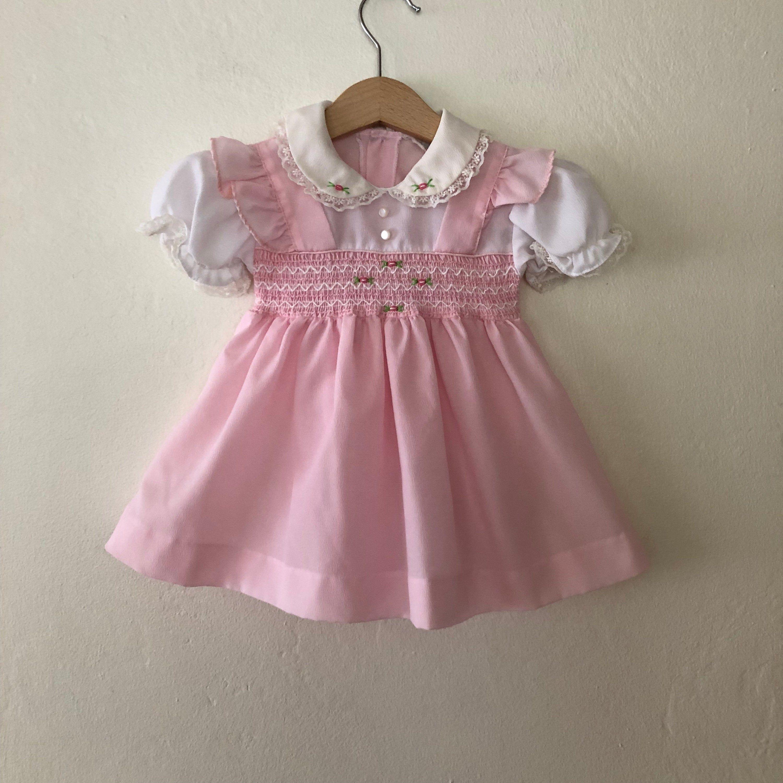 Vintage Baby Girls Dress Vintage Baby Dress Vintage Pink Baby Dress Size 6 12 Months Vintage Baby Dresses Vintage Baby Clothes Baby Dress
