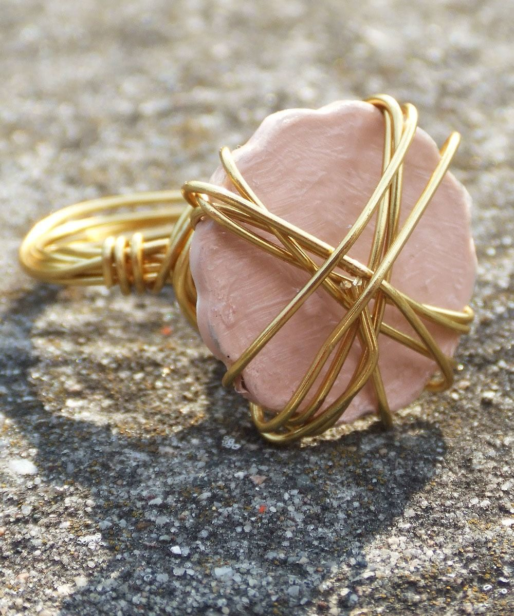 Scalloped Linen Peach Coined Ring #shoplately #colors #candyjewelry #handmade