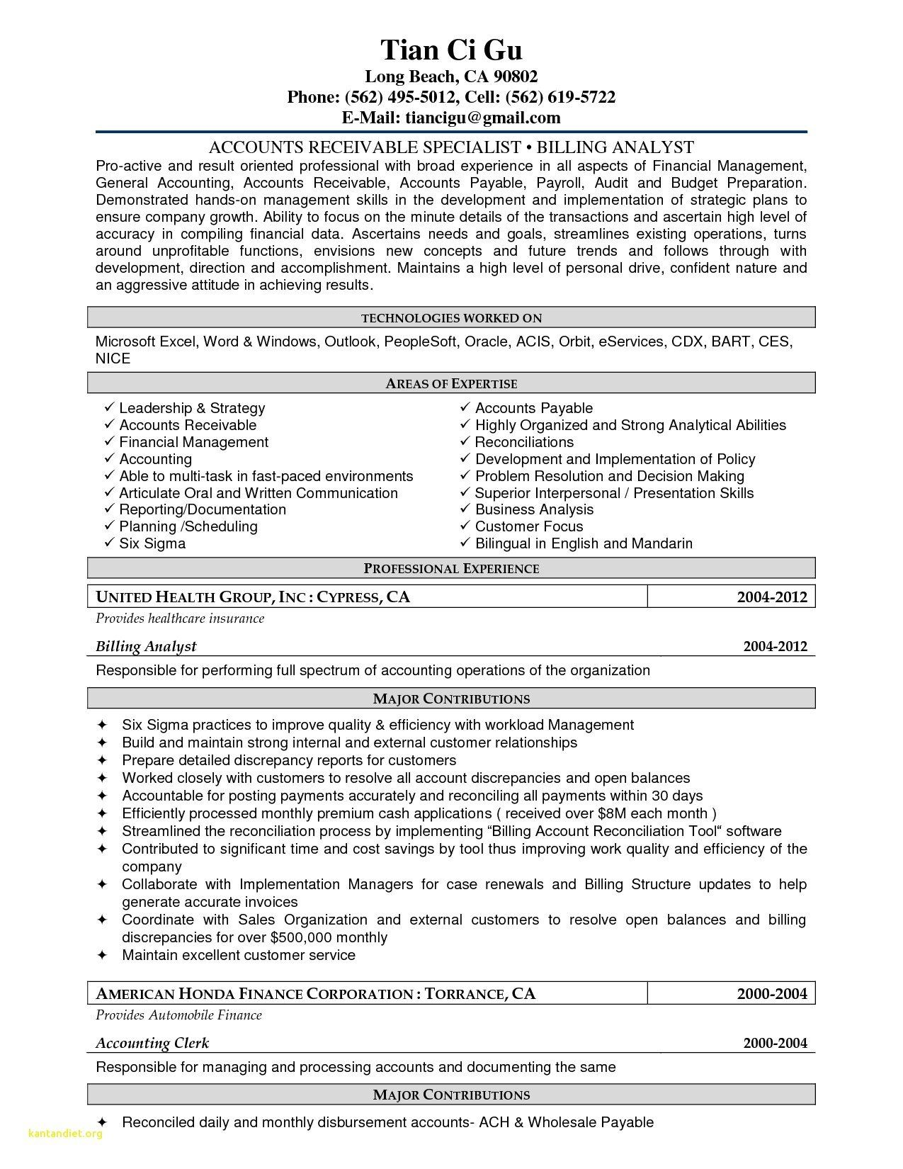 Accounts Payable And Receivable Resume Best Of 12 13