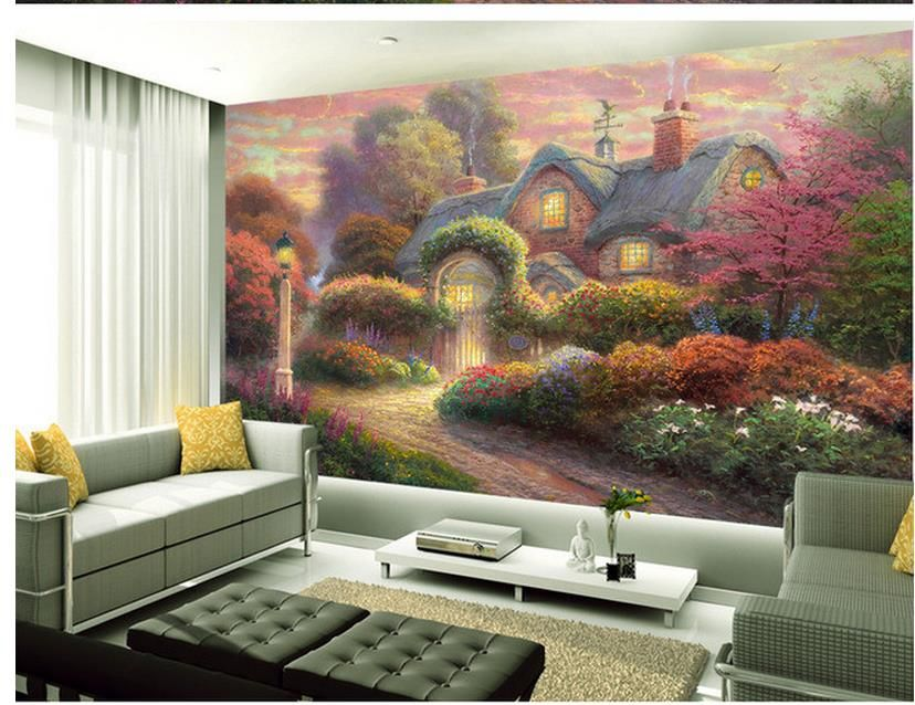 3d-wall-murals-Home-Decoration-Flower-Cottage-Country-Garden