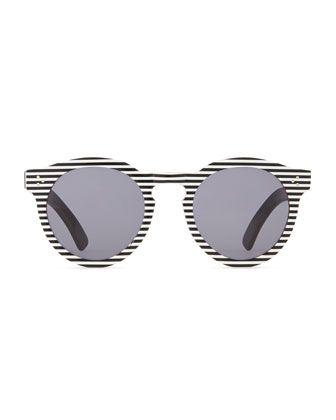 2796bea78062 Illesteva Leonard II Striped Sunglasses, Black/White | WEARABLES ...