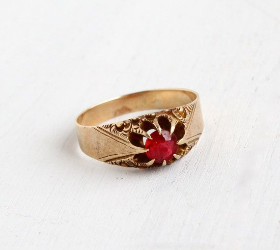 Antique Victorian 10k Gold Garnet Ring Edwardian Late 1800s Early 1900s Men S Belcher Setting Antique Rings Vintage Vintage Fine Jewelry Fine Antique Jewelry
