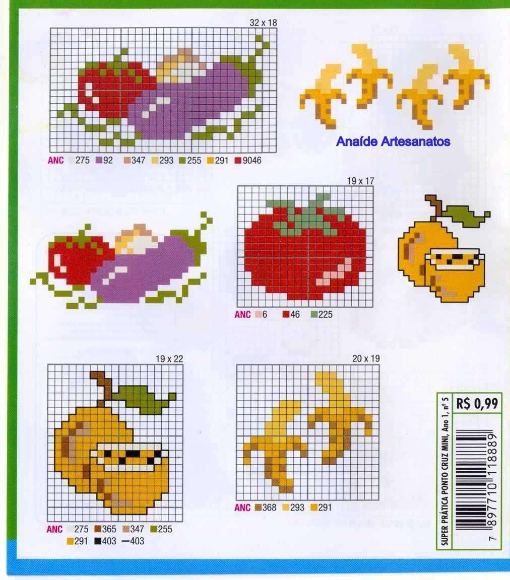 Anaide Ponto Cruz Gr Ficos Mini De Ponto Cruz Frutas Legumes  ~ Ponto Cruz Cozinha Moderna