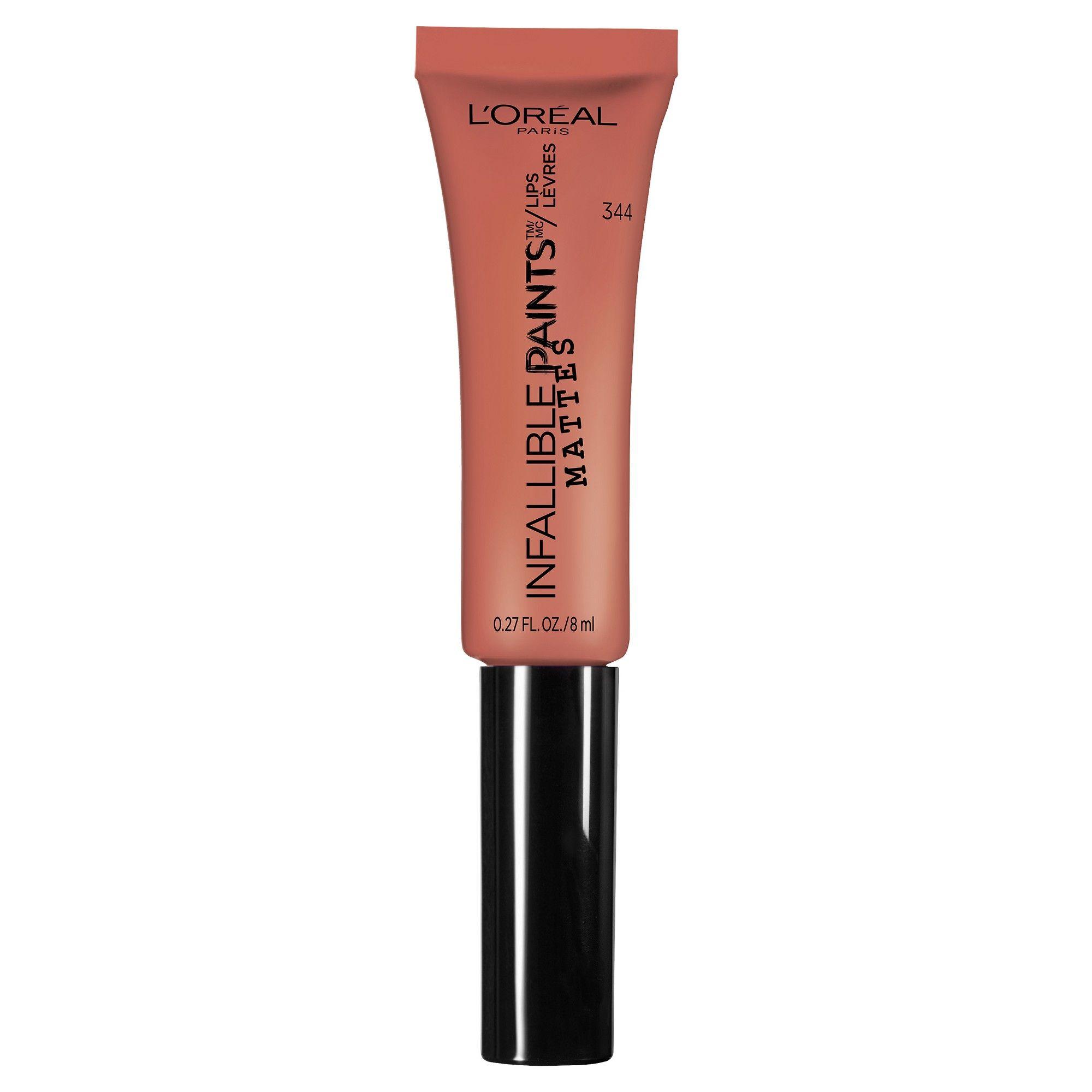 L Oreal Paris Infallible Matte Lip Paints 344 Peach Pit 0 27oz Matte Lips Loreal Paris Matte Lipstick Shades