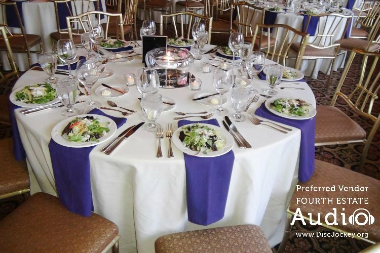 A beautiful tablescape at Evanston Golf Club, moments before the guests enter the ballroom. http://www.discjockey.org