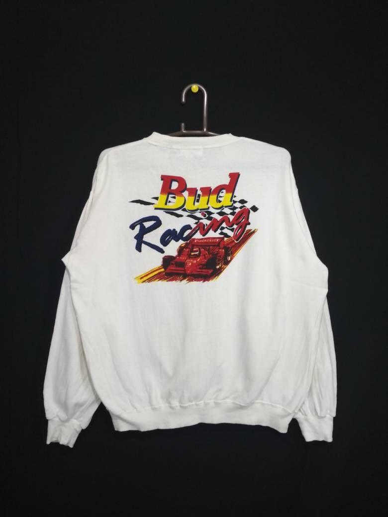 Vintage Budweiser Bud Racing Fan Club Sweatshirt crewneck pullover