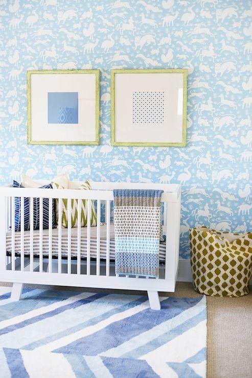 Adorable Baby Boy S Nursery Boasts Walls Clad In Thibaut