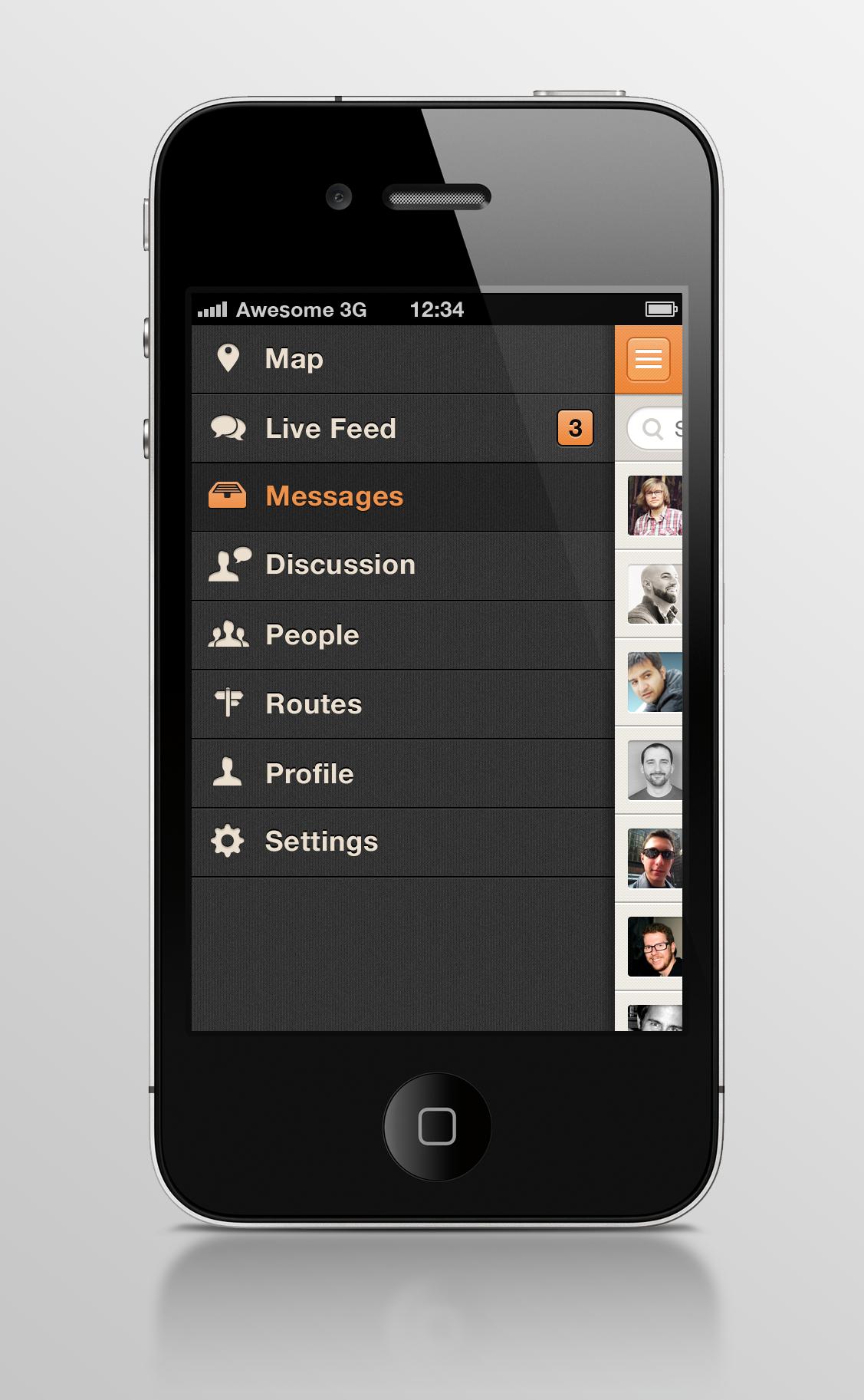 iOS App Side Navigation Design by Zane David via Dribbble