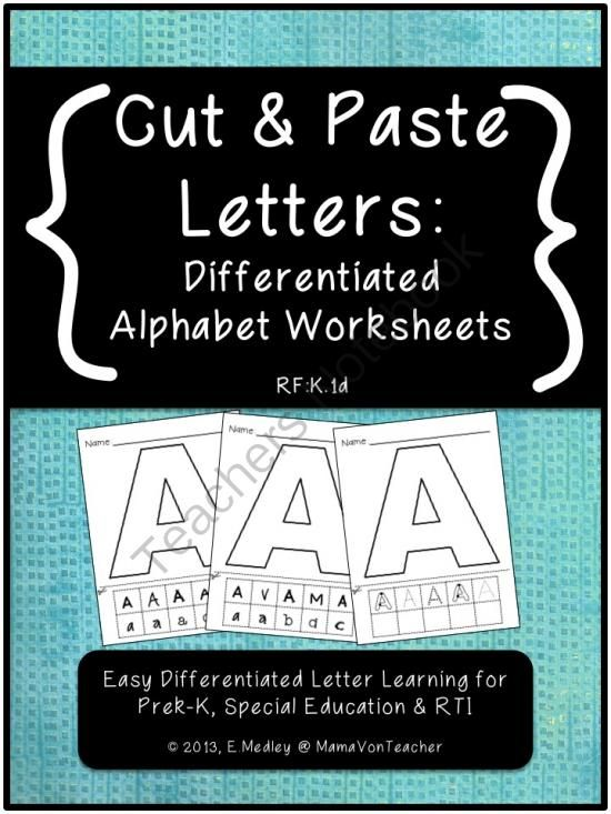 cut paste letters differentiated worksheets a z prek k special ed rti from mamavonteacher. Black Bedroom Furniture Sets. Home Design Ideas