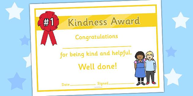 Kindness Award Certificate Personal Social Pinterest Award
