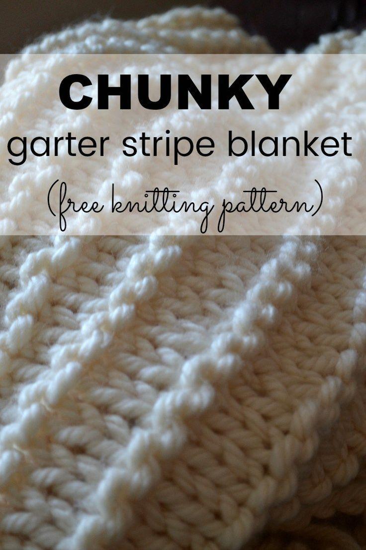 A chunky garter stripe blanket knitting pattern for beginners ...
