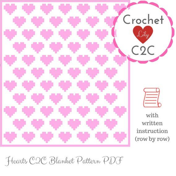 C2C crochet pattern - Hearts blanket - C2C written - Crochet