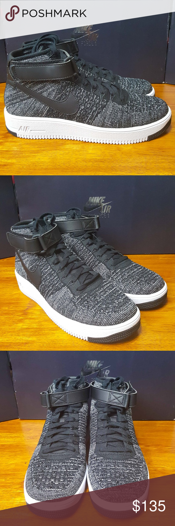 316bc1c86604 Nike Air Force 1 AF1 Mid Oreo 817420-004 Flyknit 9 Nike Air Force 1 ...