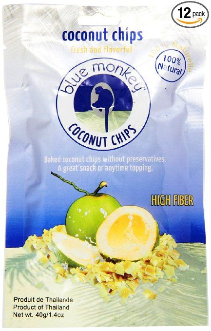 Blue Monkey Gluten Free Vegan Toasted Coconut Chips (Pack of 12), 1.4 Oz. Ea.
