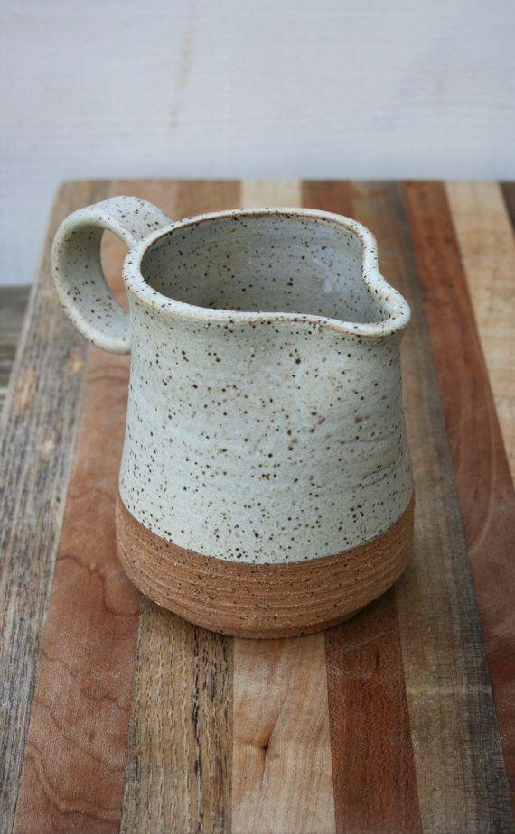 Stoneware Creamer Milk Jug Handmade Rustic Pottery