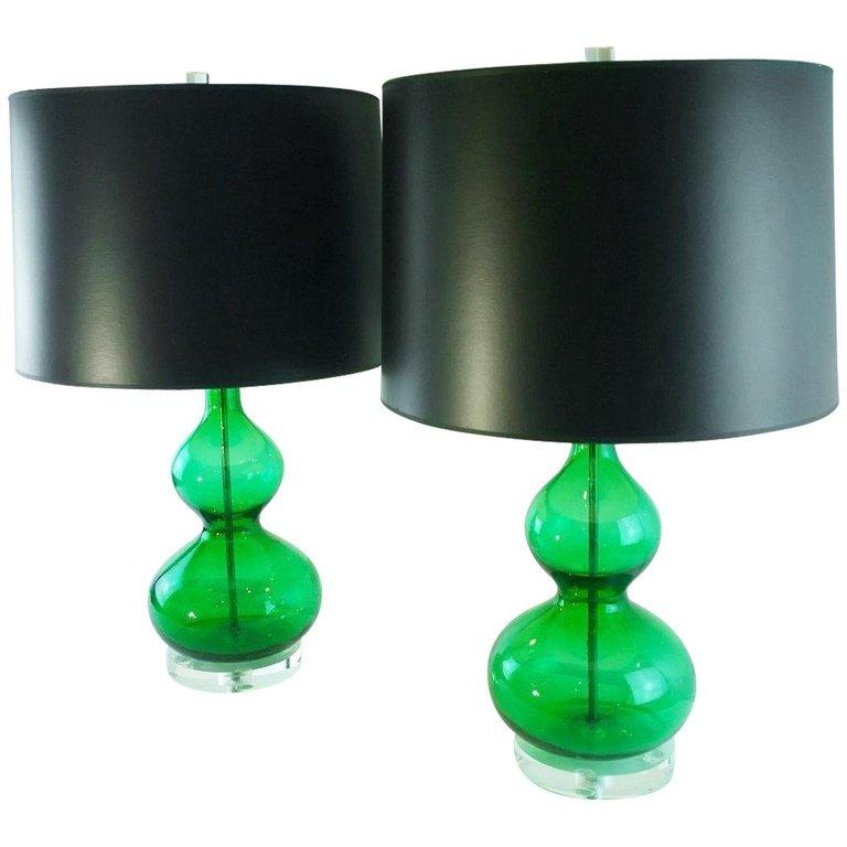 1stdibs Murano Glass Pair Lamps Lucite Base Modern Italian Table Lamp Green Table Lamp Table Lamp Green Lamp