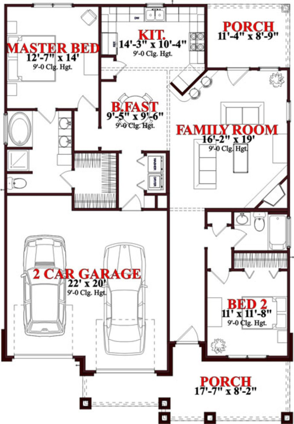 4 master bedroom house plans  Bungalow Style House Plan   Beds  Baths  SqFt Plan