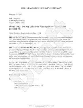 Eviction Notice  Sample Eviction Notice To Get Your Own