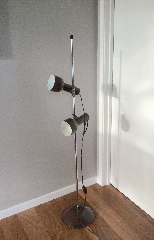 Vintage Twin Bulb Mid Century Adjustable Floor Lamp Retro Brown Caz Melbourne Adjustable Floor Lamp Floor Lamp Vintage Twins