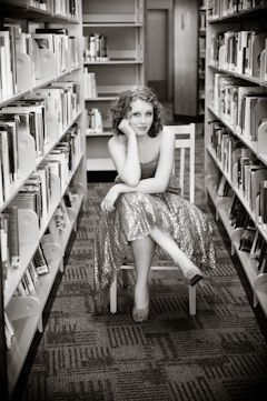 Senior Pictures with Library Books and Twirly Skirts