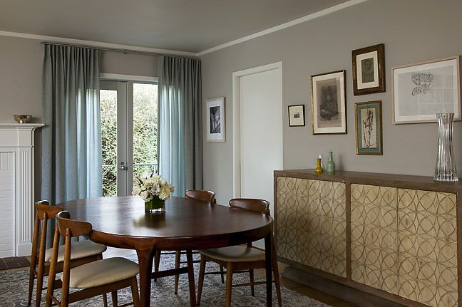 Pale Grey Walls And Sheer Blue Dining Room Curtains Transmit Light Allow For Privacy