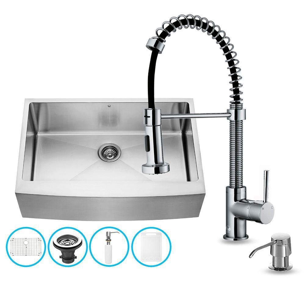 Stainless Steel All In One Farmhouse Kitchen Sink And Chrome Faucet Set 33 Inch Products Stainless Steel Faucets Sink Double Bowl Kitchen Sink