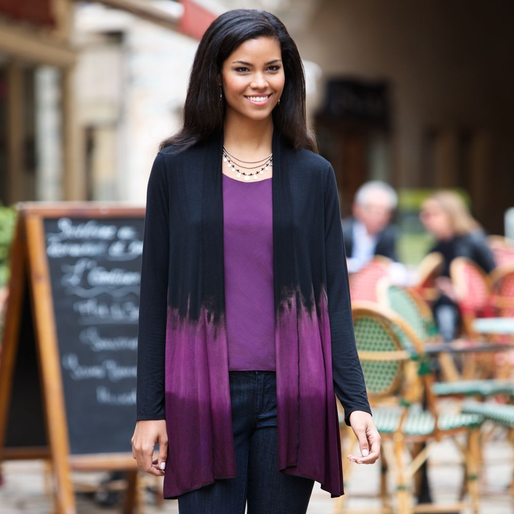Dip-dyed in a black and purple ombré pattern (from the French word for shade) this  cardigan is hand-dyed in Thailand, where textiles make up more than half of the country's handicrafts. Thai Ombré Travel Cardigan | National Geographic Store