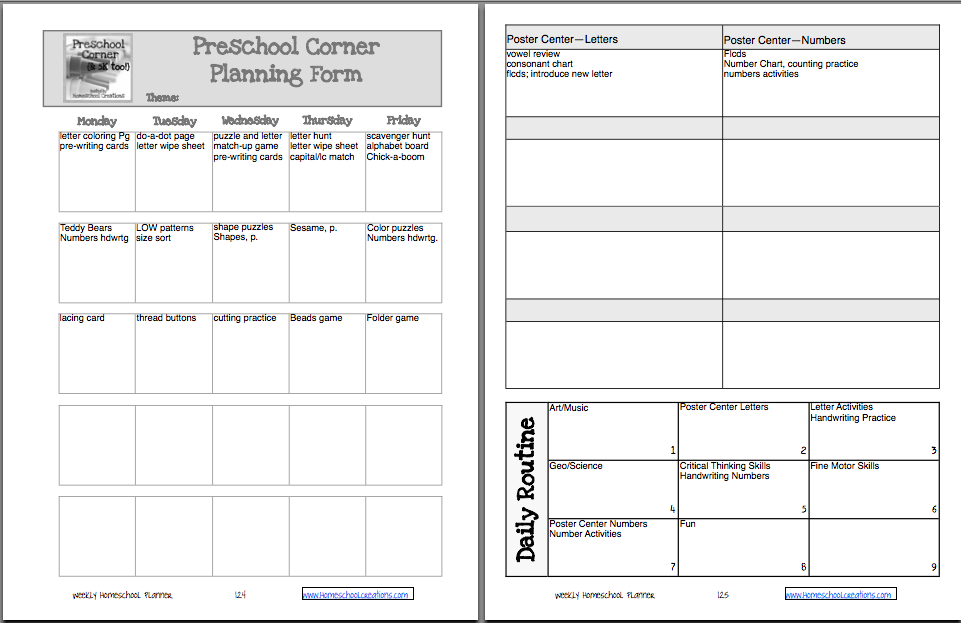 Workbox Grids And Printables  Preschool Lesson Plan Template