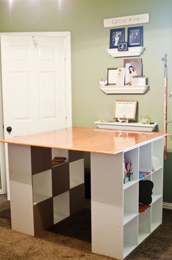 Craft table craft room pinterest breakfast bars for Diy craft table with storage