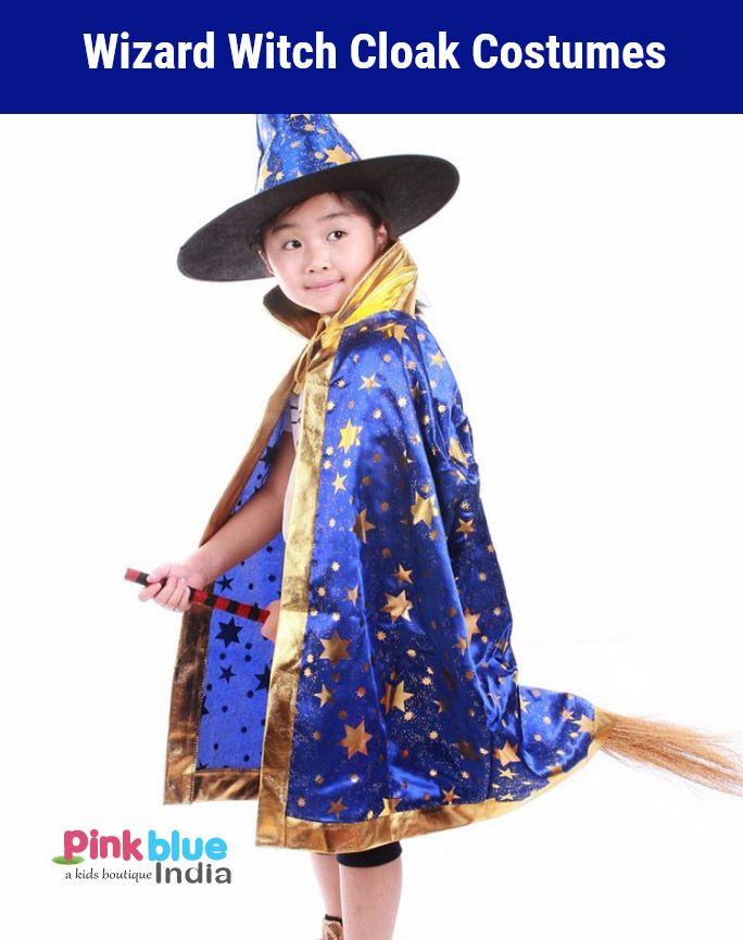 boy girl kids children blue witch wizard cloak cape set with hat