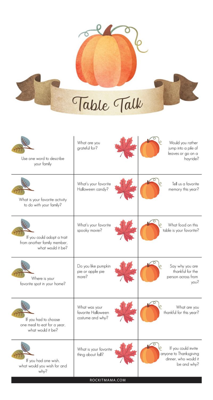 Table Talk Thanksgiving Conversation Game - Free Printable! - Rock it Mama