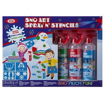 Ideal Sno Art Spray N Stencil Kit Snow