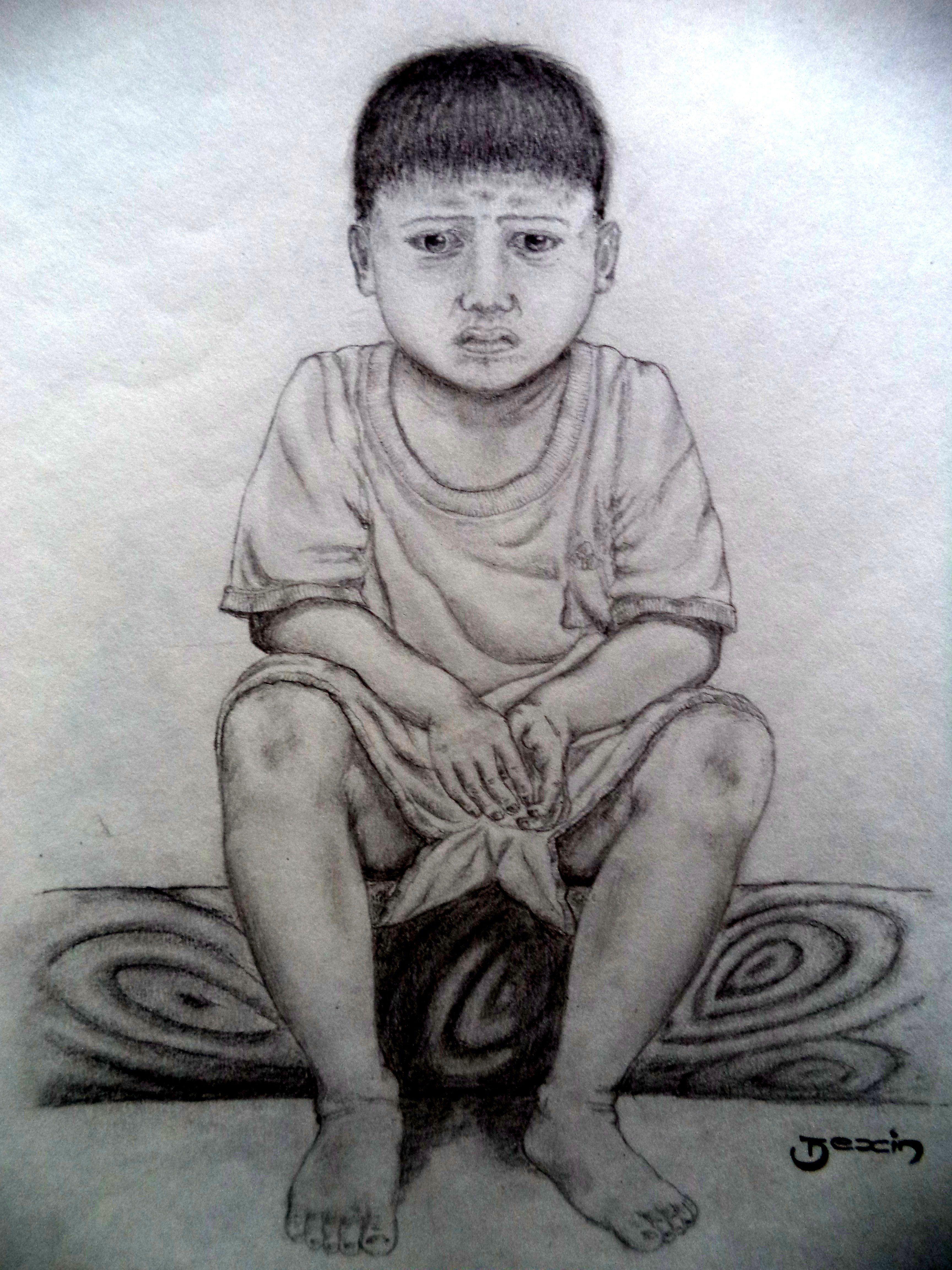 Pencil drawings sad kid boy sitting bexin pk
