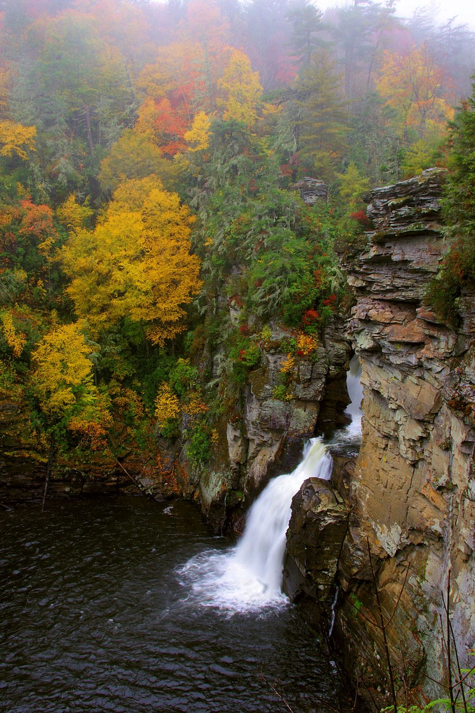 Linville Falls along the Blue Ridge Parkway in North Carolina with fall color