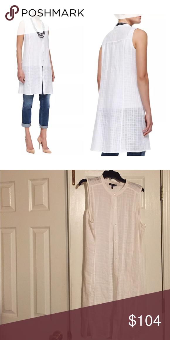 Eileen Fisher Shirt Dress White Handkerchief Linen Yarn Dyed Shirtdress Mini Mandarin Collar Button Front Sleeveless Moderate Shoulder Coverage Shirt Dress