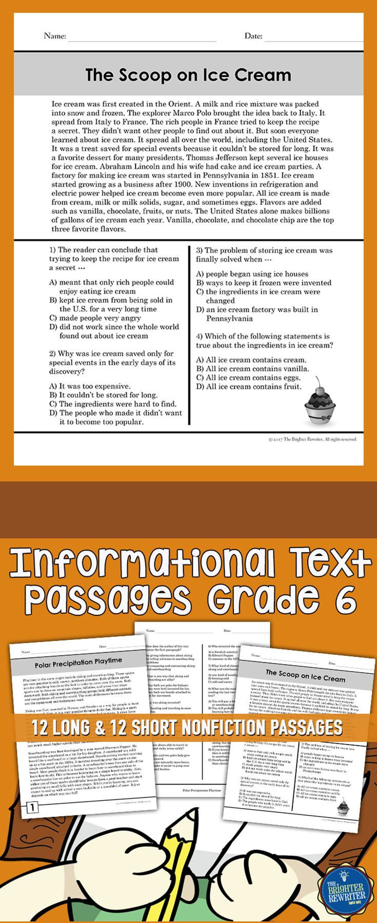 12 Long Passages Feature One Page Of Informational Text One Page Of Multiple Ch Informational Text Passages Informational Text Reading Comprehension Passages Reading informational text grade