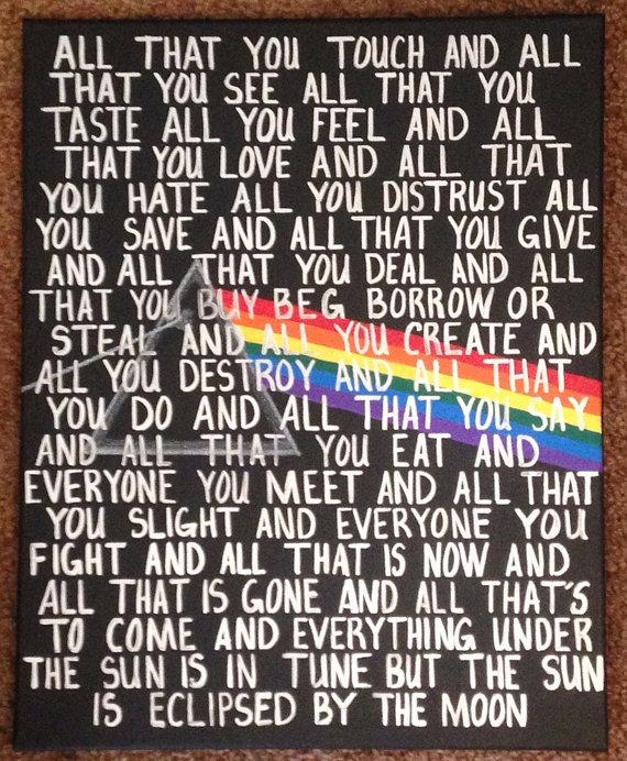 Hand painted Pink Floyd Lyrics Pink floyd lyrics, Pink