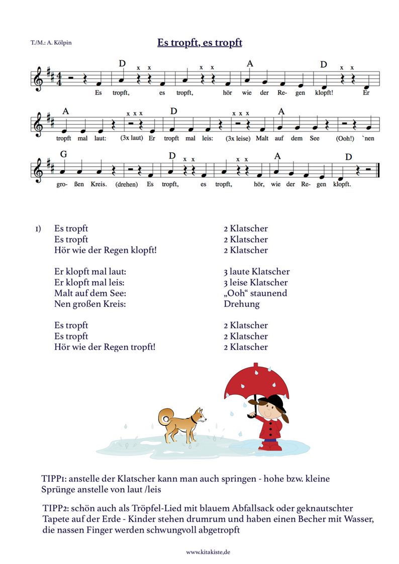 Kinderlied noten text es tropft kita projekt lieder for Sims 3 spielideen