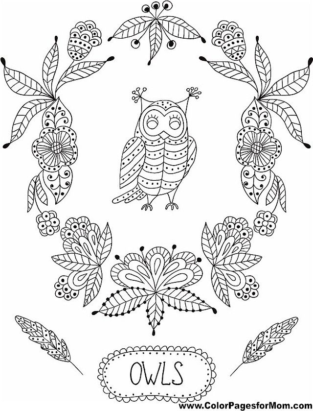 Owl Coloring Page 2 My Style Pinterest Owl Adult coloring and