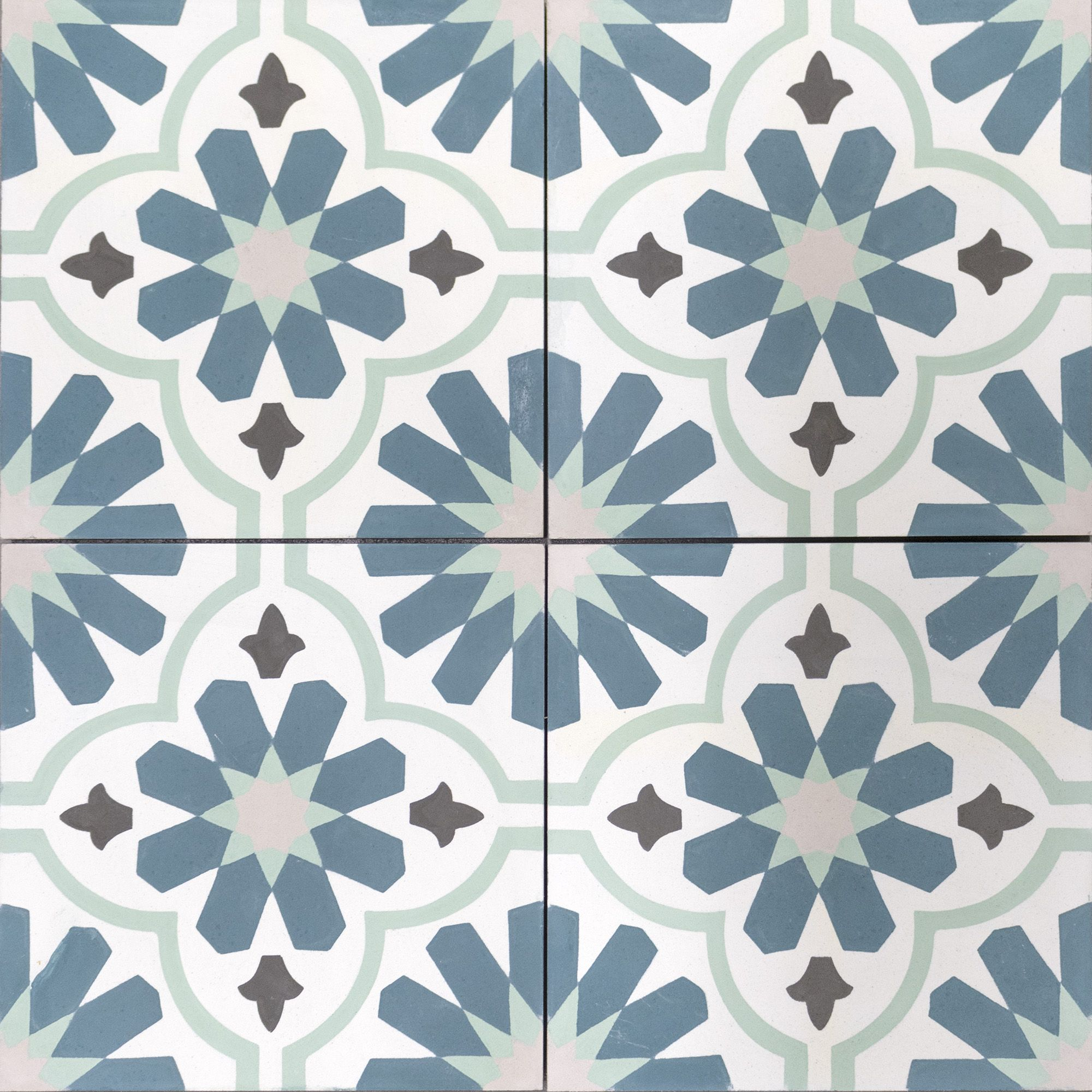 Green, blue and turquoise encaustic cement tiles. Lovely floral ...