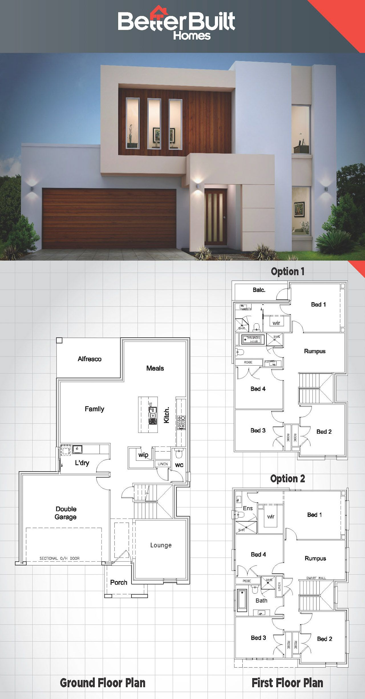 Modern Two Storey House Design With Terrace: The Jameson: Double Storey House Design.