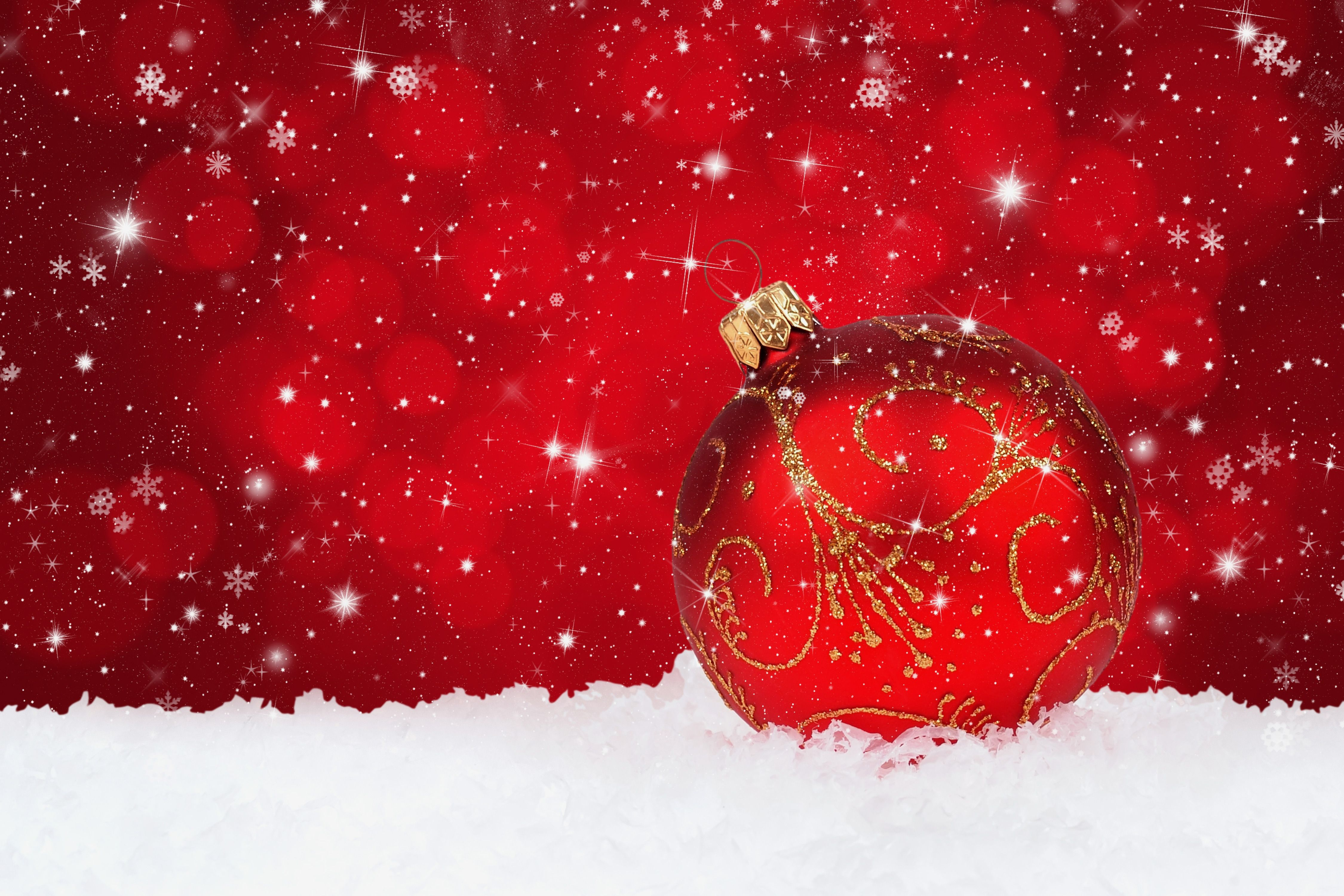 Red Christmas Snowy Background With Christmas Ball