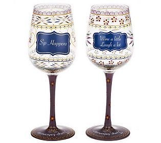 Temp Tations Old World Set Of 2 Conversational Wine Glasses With
